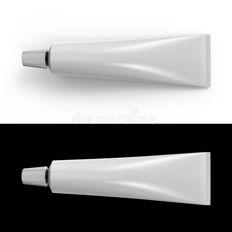 Tubo blanco en blanco de la crema dental o de la crema stock de ilustración