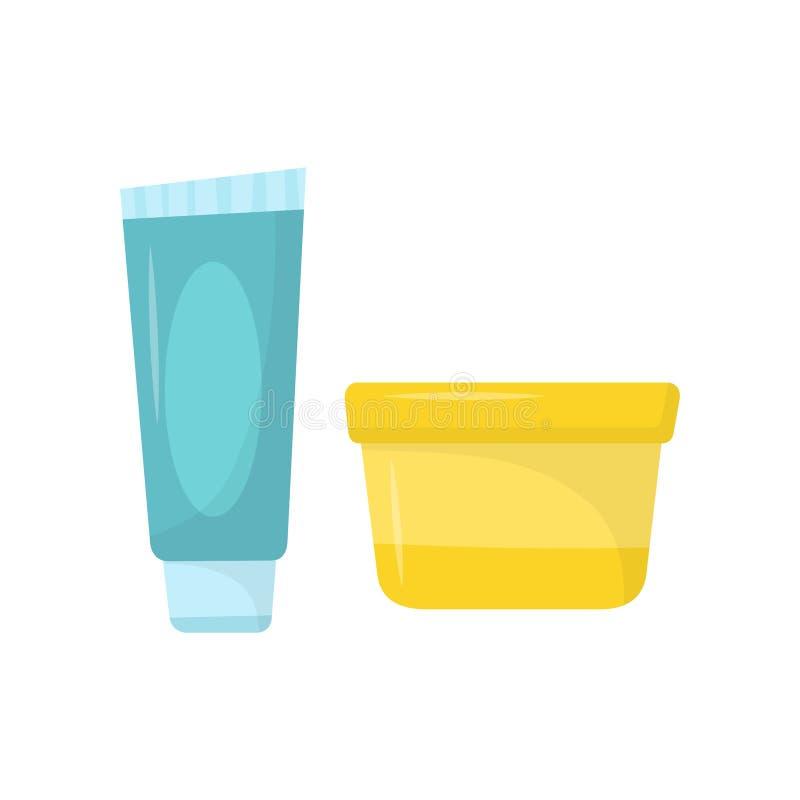 Tubo blu di dentifricio in pasta e di piccolo barattolo giallo di crema Cosmetici di cura di pelle L'igiene personale Icone piane illustrazione vettoriale