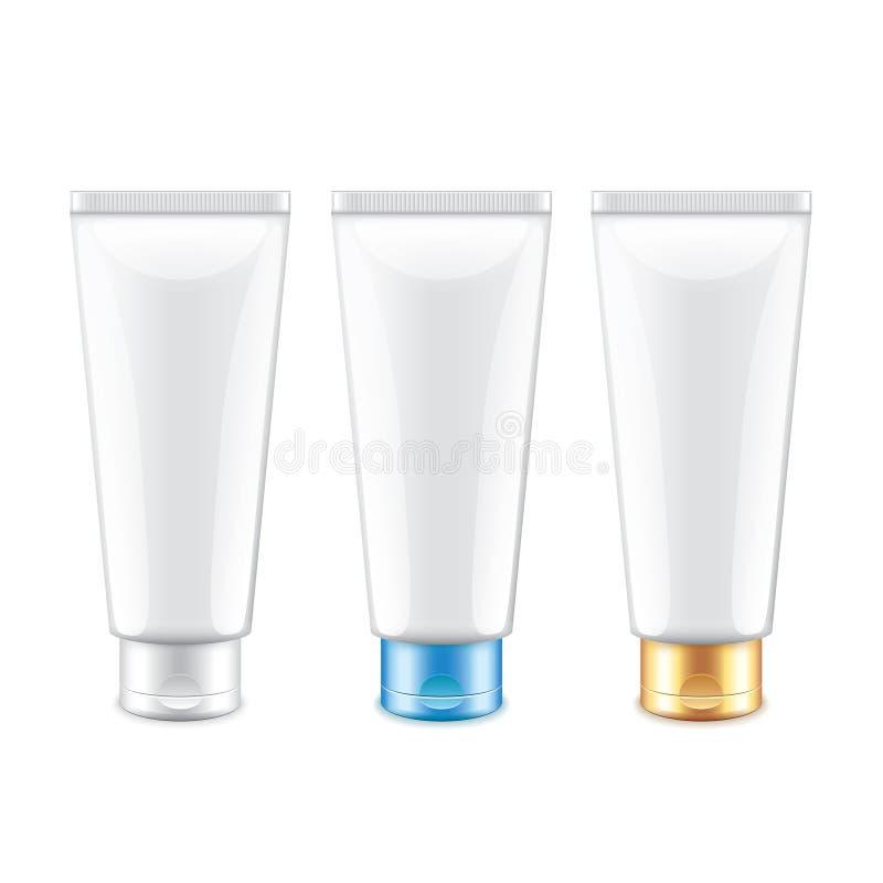 Tubo branco que empacota para o vetor isolado cosméticos ilustração do vetor