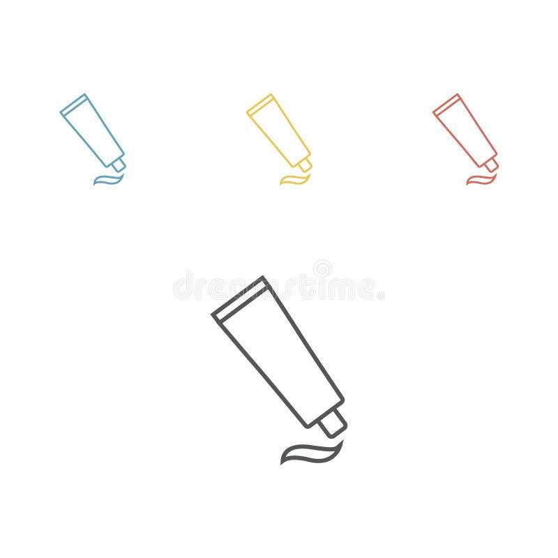 Tubo com o tampão com nervuras pequeno para a medicina ou os cosméticos - creme, gel, cuidados com a pele, dentífrico Ilustração  ilustração do vetor