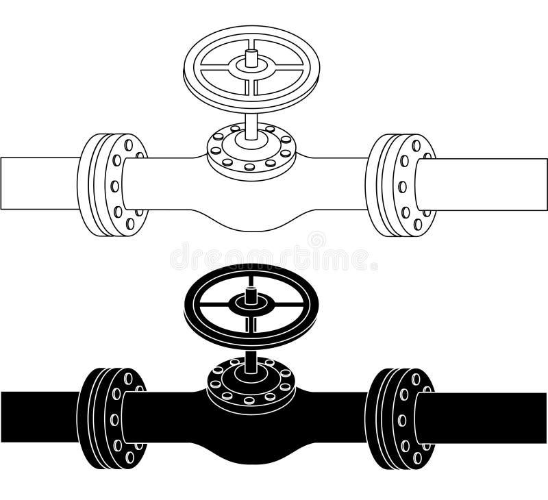 Tubo con el dibujo de la válvula ilustración del vector