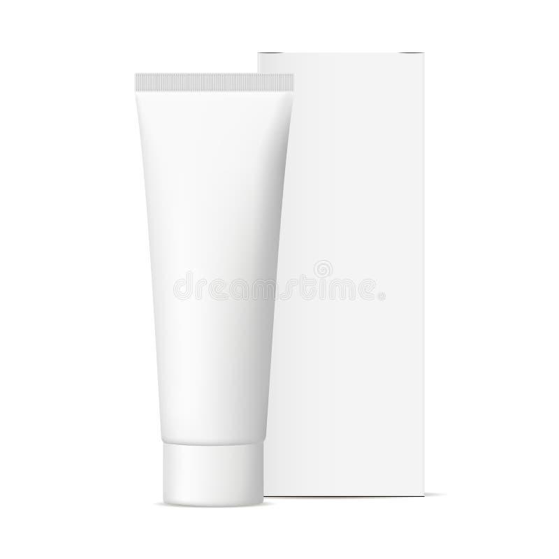 Tubo cosmético con la maqueta de empaquetado de la caja stock de ilustración