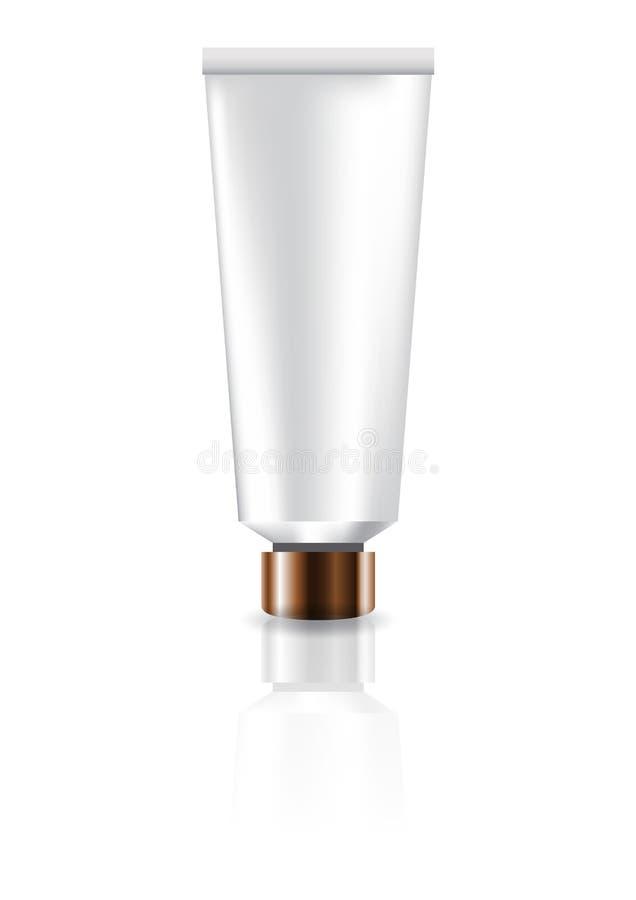 Tubo cosmetico bianco in bianco con il coperchio di rame per l'imballaggio del prodotto di bellezza royalty illustrazione gratis