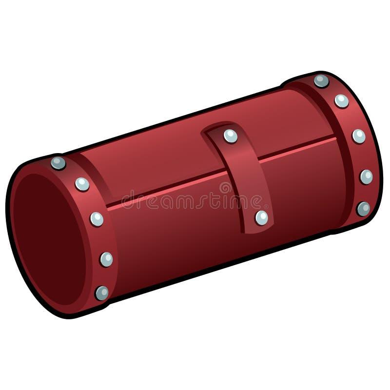 Tubo cosmetico di cuoio rosso isolato su fondo bianco Primo piano del rotolo della spazzola di trucco Illustrazione di vettore royalty illustrazione gratis