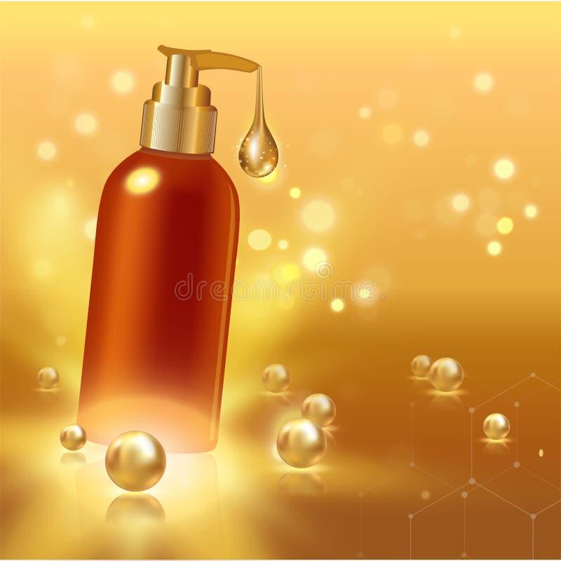 Tubo cosmetico realistico con goccia e le perle dell'oro Concetto dell'annuncio per collagene o crema o liquido d'idratazione Fon illustrazione vettoriale
