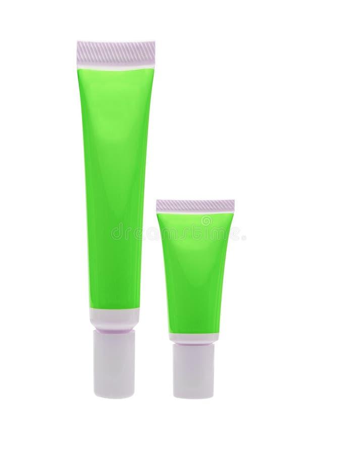 Tubo cosmetico verde isolato fotografia stock libera da diritti
