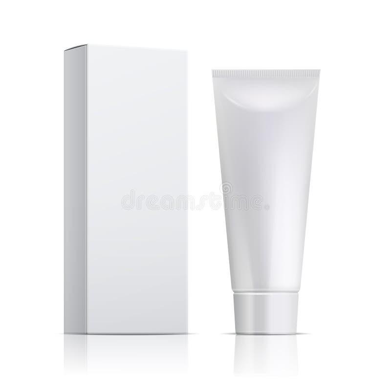 Tubo crema ed imballare Modello del contenitore del dentifricio in pasta o di unguento modello cosmetico bianco di vettore del ge illustrazione di stock