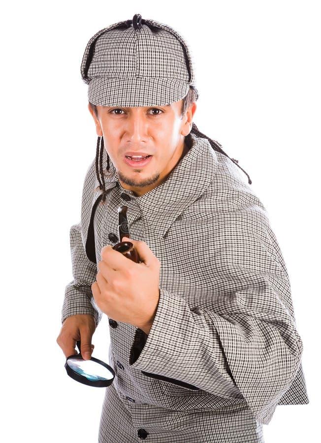 Tubo y lupa curiosos de Sherlock Holmes foto de archivo libre de regalías
