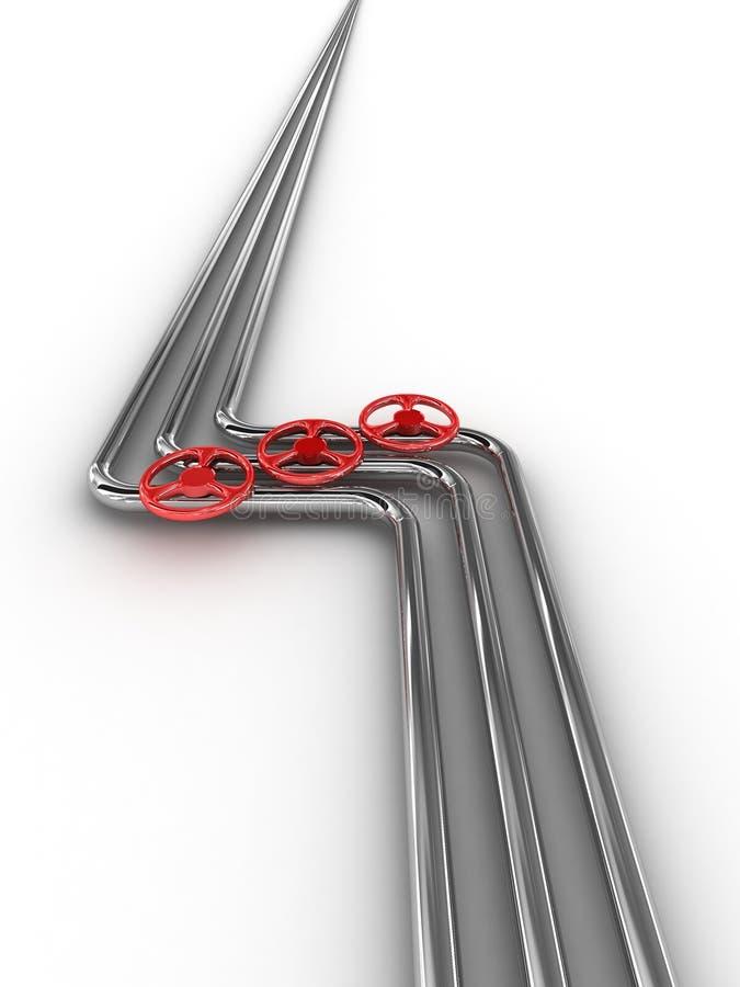 Tubo d'acciaio con le valvole rosse illustrazione vettoriale