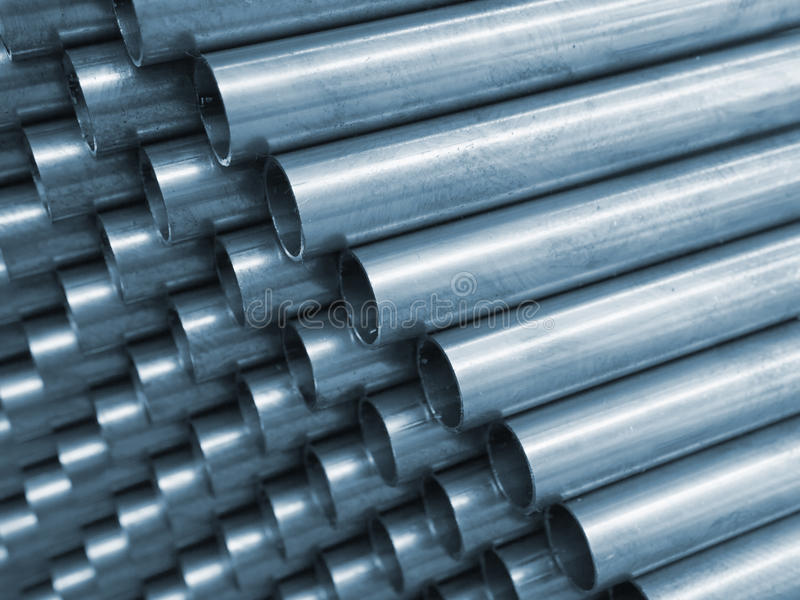 Tubo d'acciaio di tono blu immagini stock