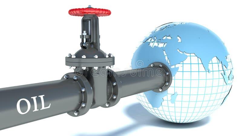 Tubo de aceite atado al globo stock de ilustración