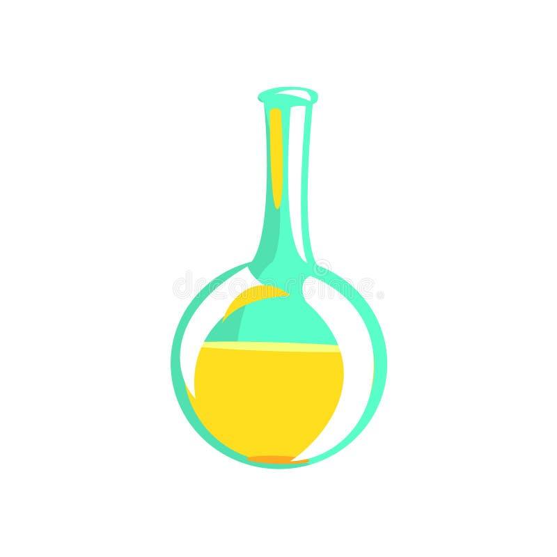 Tubo de análise laboratorial com líquido amarelo, parte do objeto de Equipment Set Isolated do cientista do químico ilustração do vetor