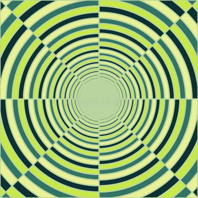 Tubo de color verde oscuro abstracto, luz en el extremo del túnel ilustración del vector