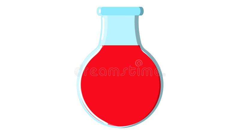Tubo de ensaio qu?mico de vidro da garrafa do c?rculo vermelho m?dico bonito com l?quido para os estudos da pesquisa que conduzem ilustração royalty free