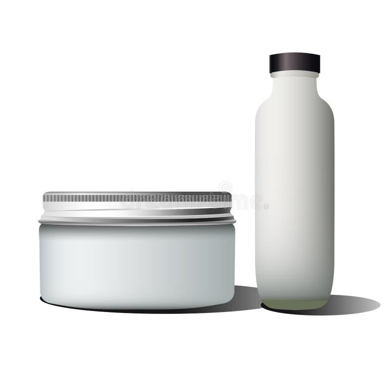 Tubo de ensaio realístico do cosmético da garrafa ilustração stock