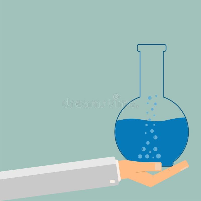 Tubo de ensayo de la tenencia de la mano con el líquido azul Elementos de esta imagen equipados por la NASA Ilustraci?n del vecto stock de ilustración