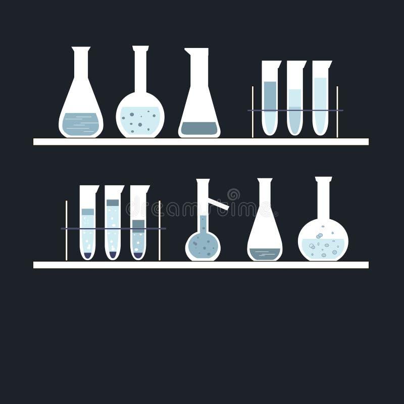 Tubo de ensayo químico en estantes, en negro Colores blancos, azules, azules claros libre illustration
