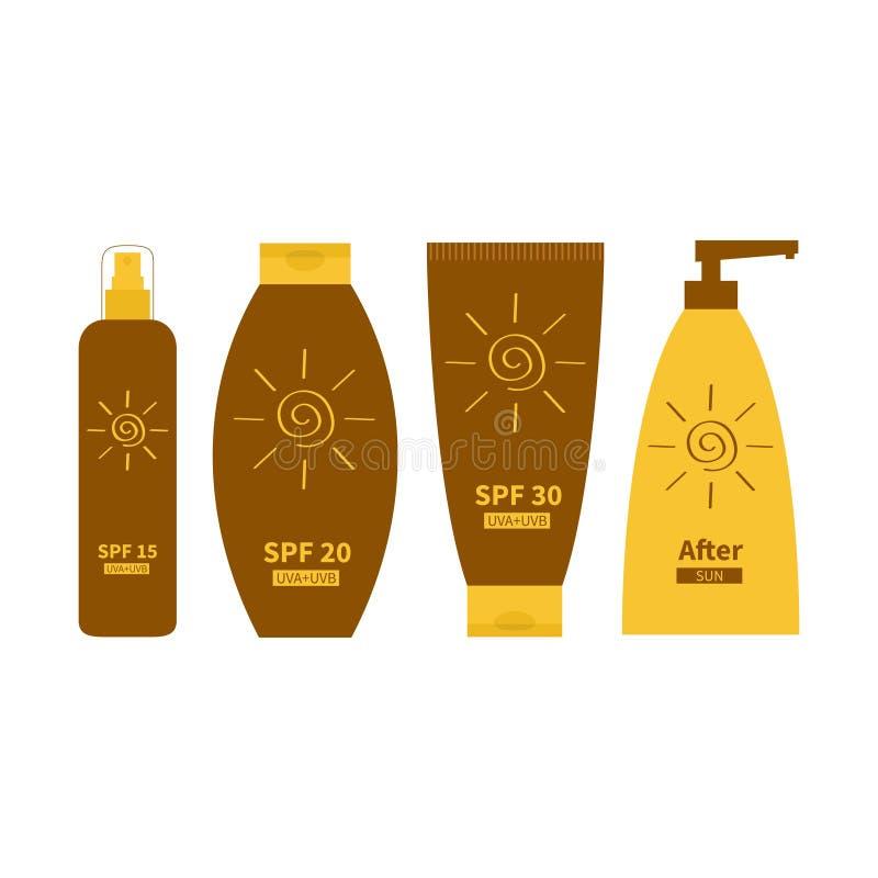 Tubo de la crema del aceite del bronceado de la protección solar Después de la loción del sol Sistema de la botella Defensa solar libre illustration