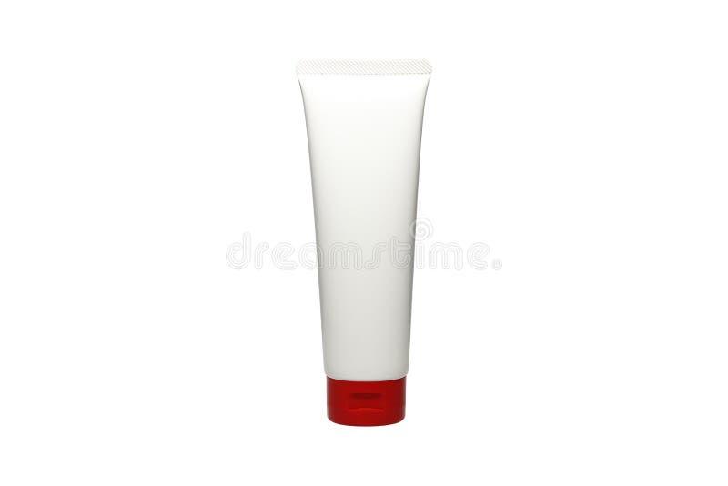 Tubo de la crema, del producto plástico blanco, del envase, del producto y del empaquetado en el fondo blanco foto de archivo