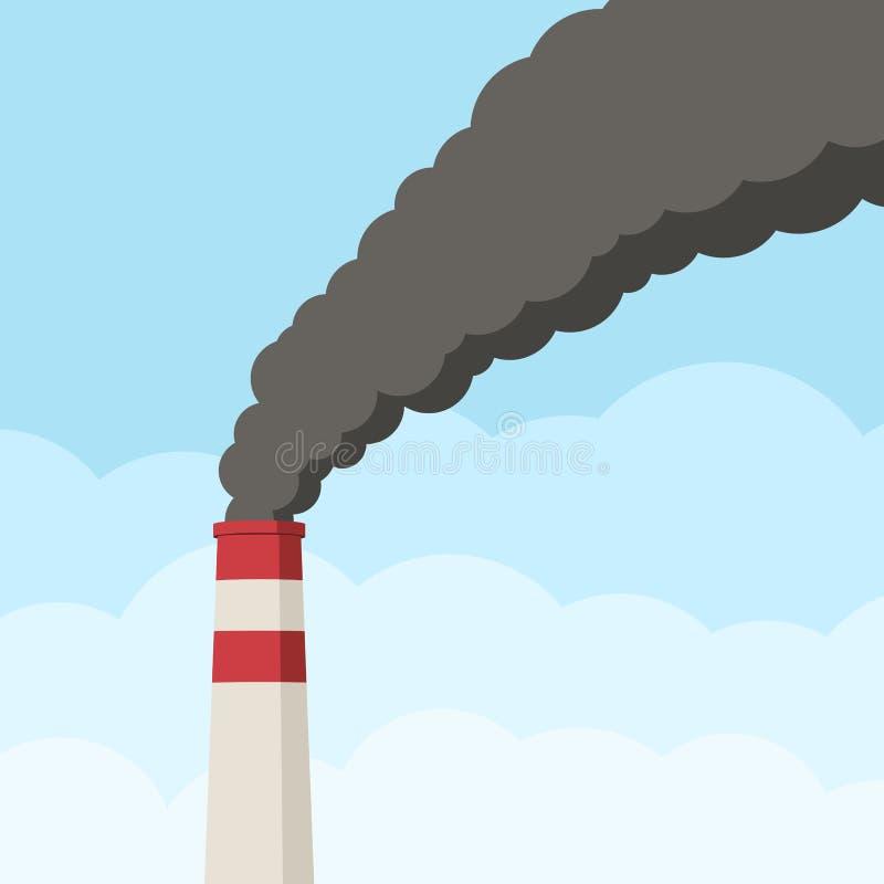 Tubo de la fábrica contra el cielo claro stock de ilustración