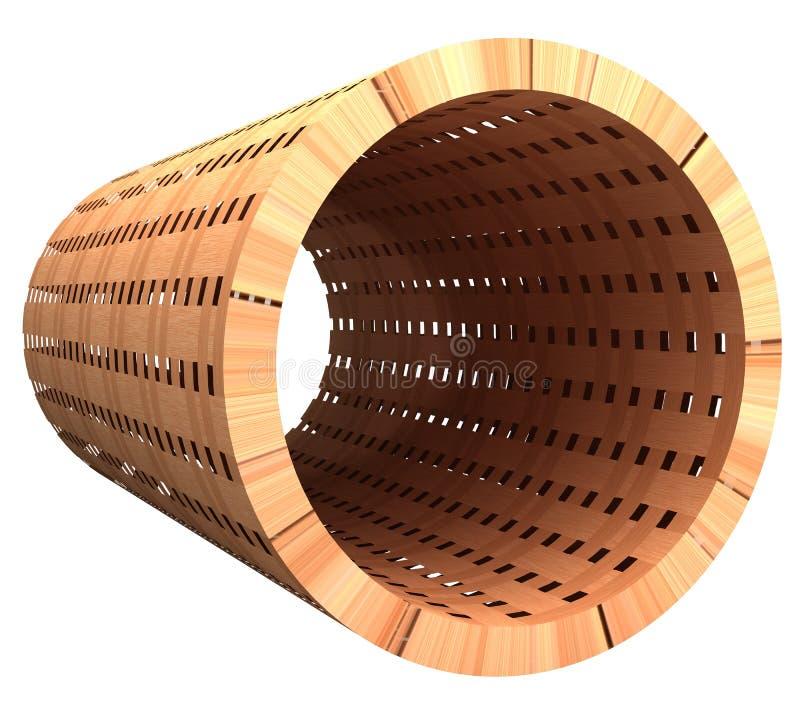 Tubo de la madera tejida 3d stock de ilustración