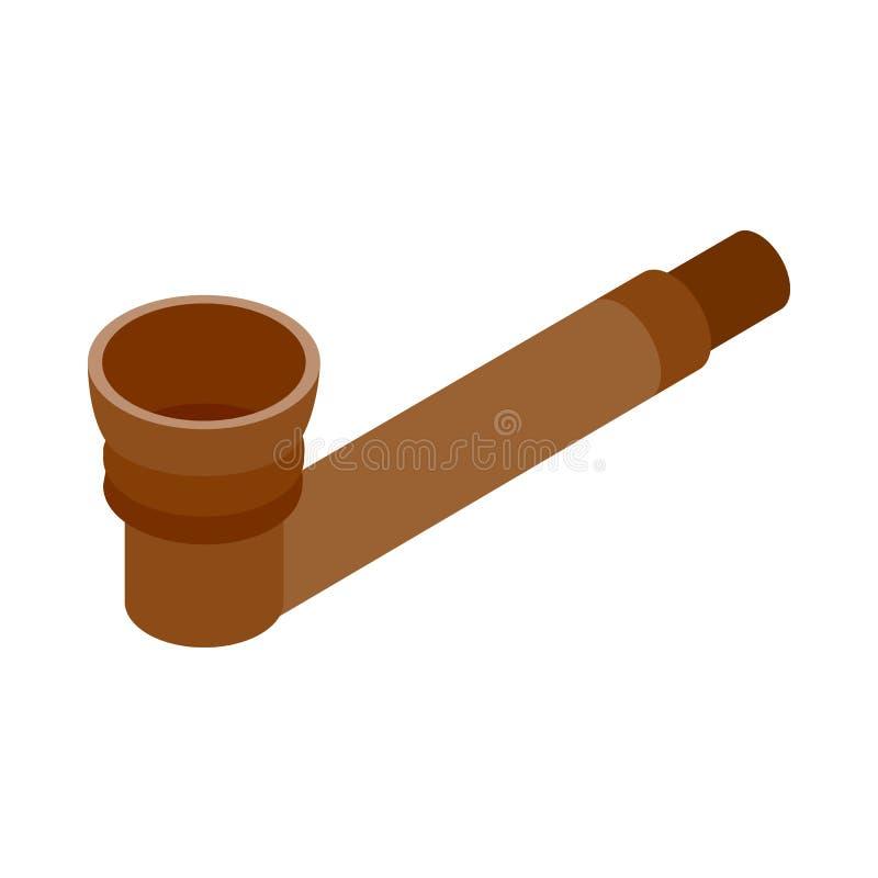 Tubo de madera para el icono de la marijuana que fuma stock de ilustración