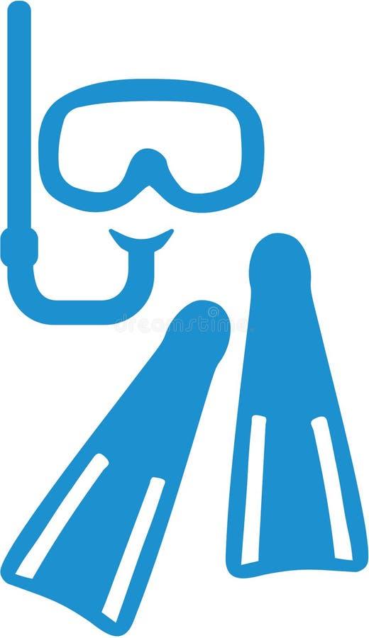 Tubo de respiração e aletas da máscara do equipamento do tubo de respiração ilustração royalty free