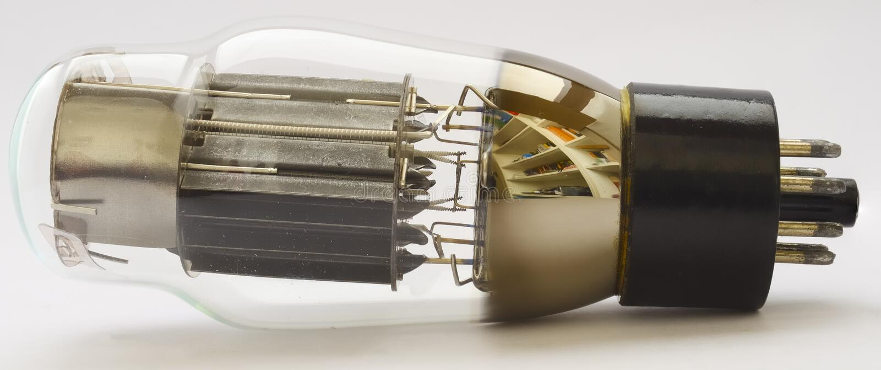 Tubo de vácuo 6AS7G (equivalente 6080) fotografia de stock royalty free