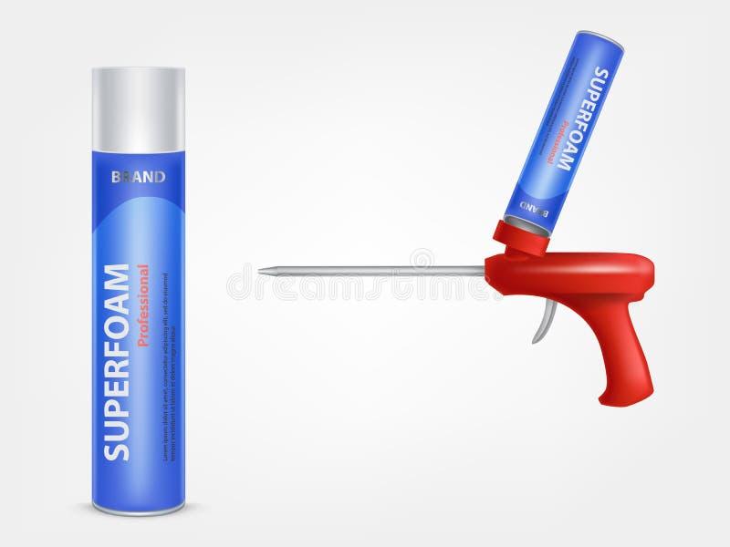 Tubo de vector con espuma de la construcción y arma para él libre illustration