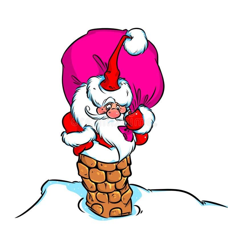 Tubo del bolso del regalo de Santa Claus de la Navidad ilustración del vector