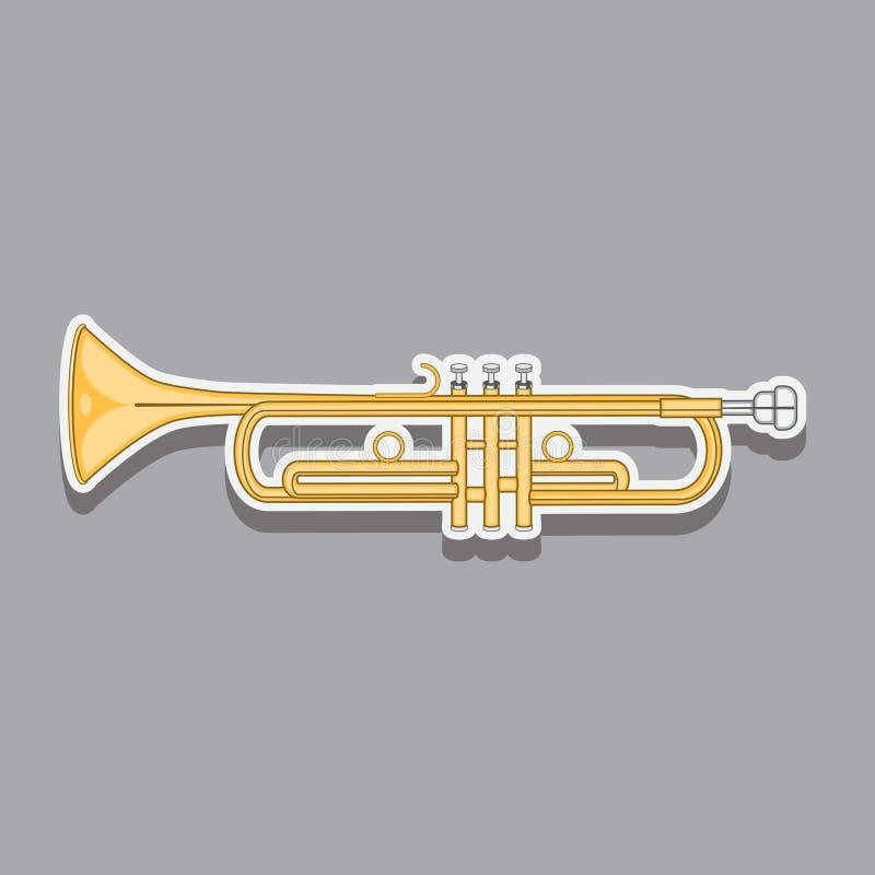 Tubo del vento dello strumento musicale, tromba, immagine illustrazione di stock