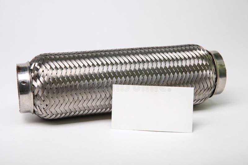 tubo della flessione dello scarico di acciaio inossidabile su fondo bianco immagini stock
