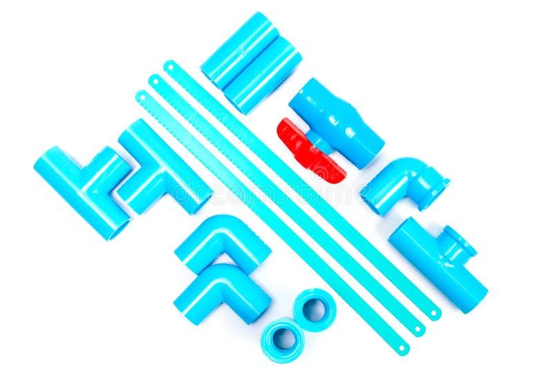 Tubo determinado y hoja de sierra del PVC del azul imágenes de archivo libres de regalías