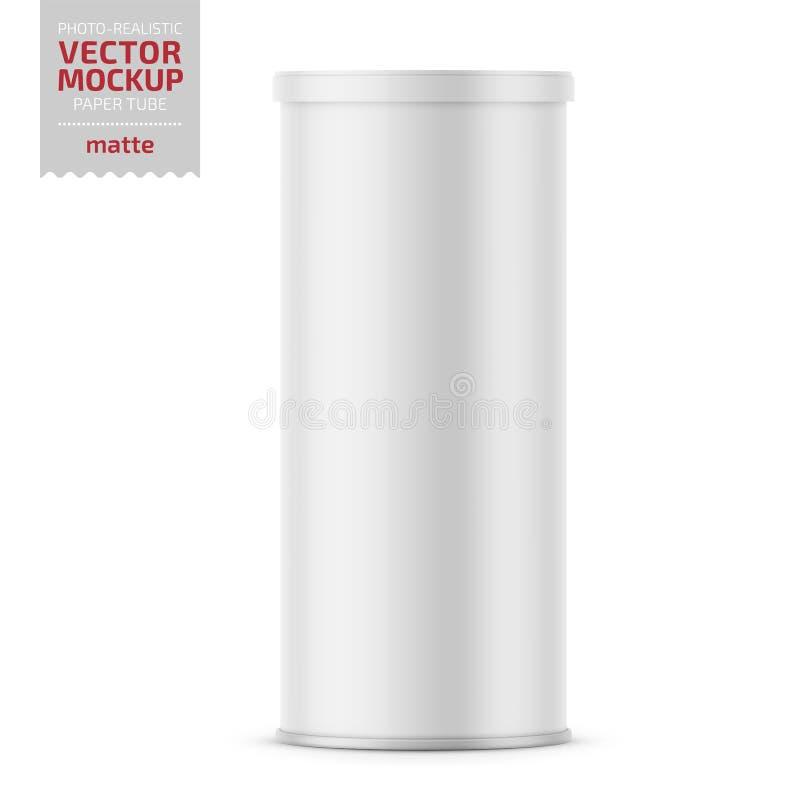 Tubo di carta opaco bianco con il coperchio di plastica illustrazione di stock