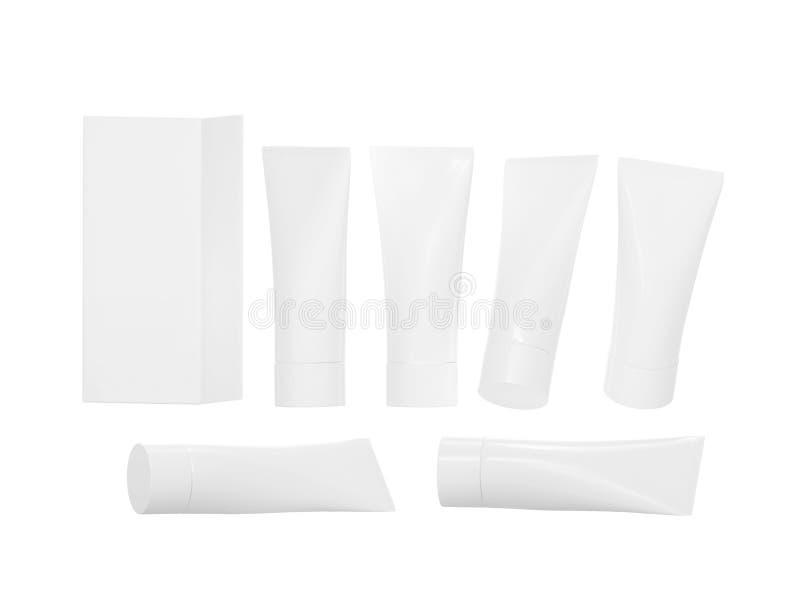 Tubo di plastica bianco di igiene di bellezza con il percorso di ritaglio illustrazione di stock
