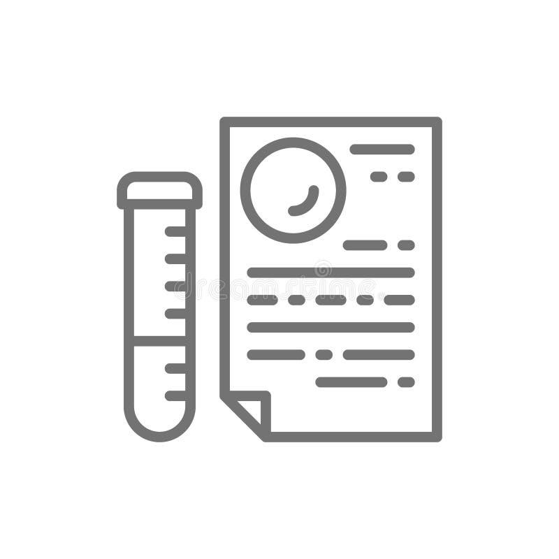 Tubo di vetro medico con il documento, prove del DNA, linea icona di risultato dei test di paternità illustrazione di stock