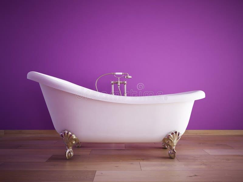 Tubo do banho do vintage em uma sala com parede cor-de-rosa 3d imagens de stock