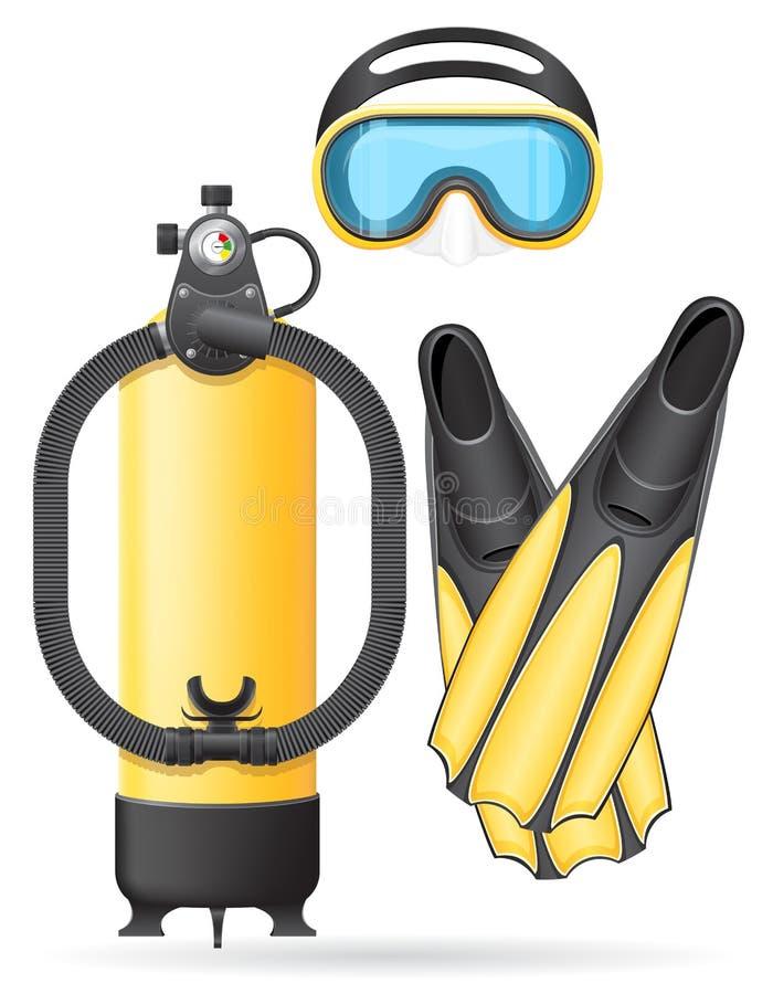 Tubo e aletas da máscara do escafandro para mergulhar ilustração do vetor