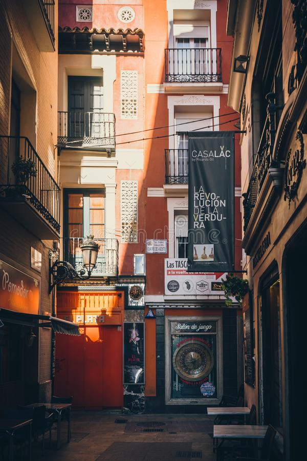 Tubo gata i Zaragoza, Spanien royaltyfria foton