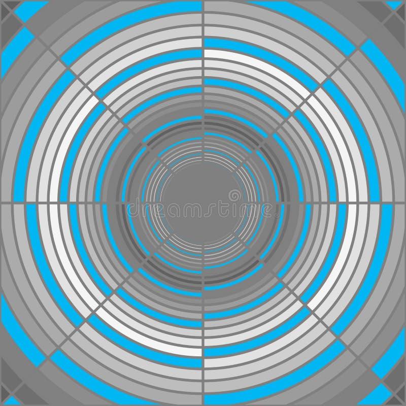 Tubo gris profundo abstracto, iluminación azul stock de ilustración