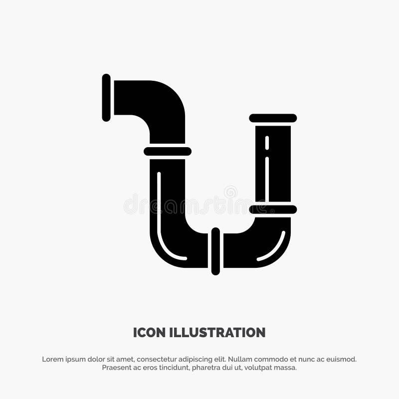 Tubo, idraulico, riparazione, strumenti, vettore solido dell'icona di glifo dell'acqua illustrazione vettoriale