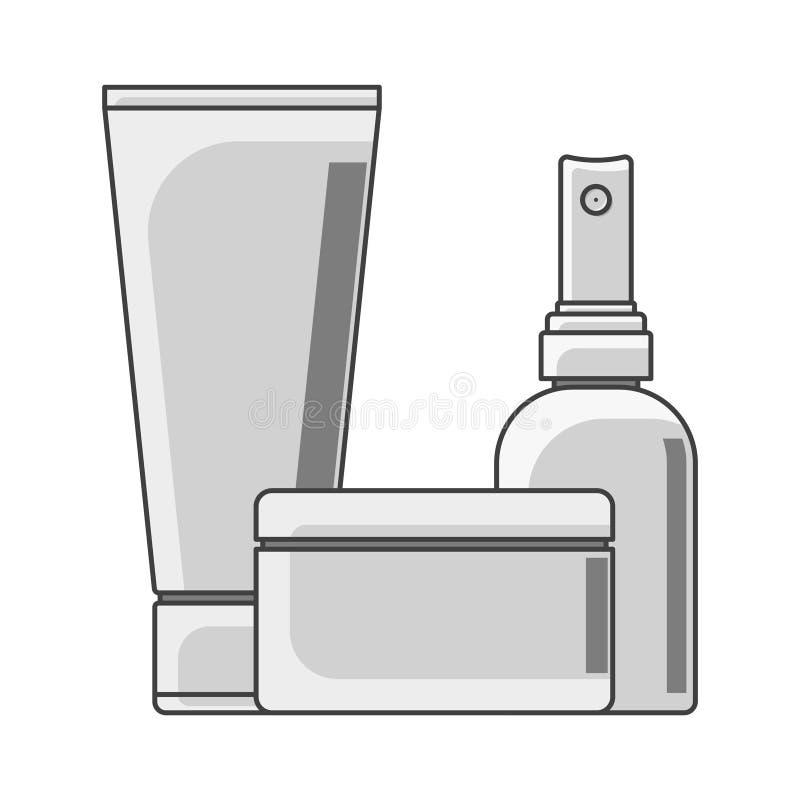 Tubo, latas e garrafa do ícone Desempenho preto e branco Frasco no primeiro plano Vetor isolado no fundo branco ilustração do vetor