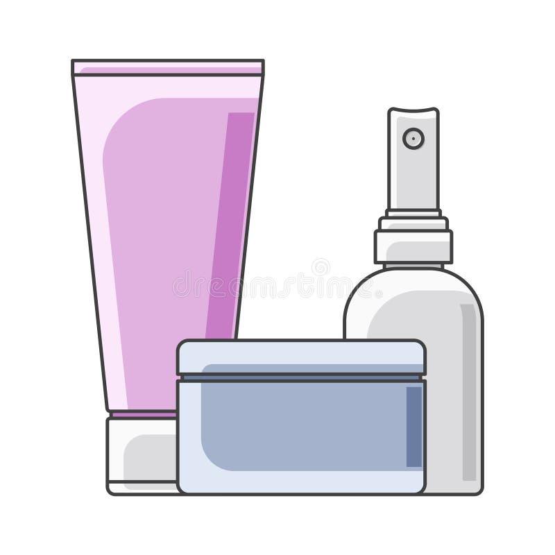 Tubo, latas e garrafa do ícone execução Multi-colorida Frasco no primeiro plano Vetor isolado no fundo branco ilustração royalty free