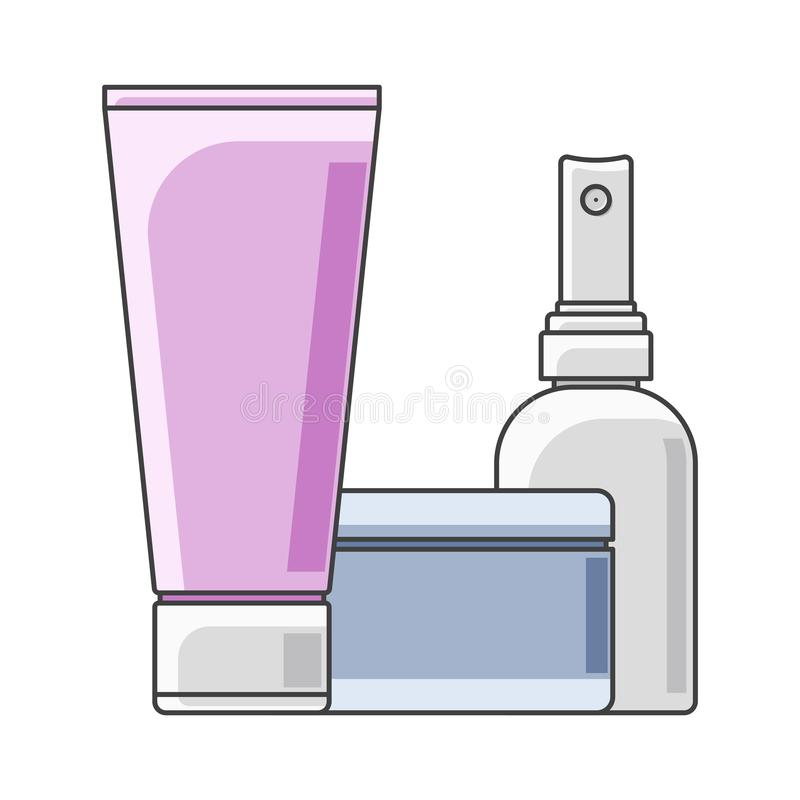 Tubo, latas e garrafa do ícone execução Multi-colorida Um tubo no primeiro plano Vetor isolado no fundo branco ilustração do vetor