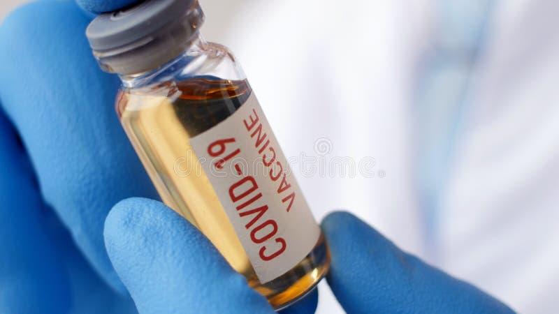 Tubo medico o di allevamento con vaccino COVID coronavirus nCoV immagine stock libera da diritti