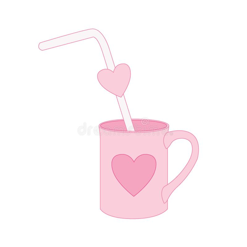 Tubo no copo do coração no vetor cor-de-rosa da ilustração do fundo ilustração royalty free