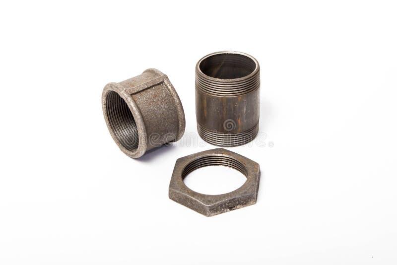 Tubo, nuez y compuesto imagen de archivo