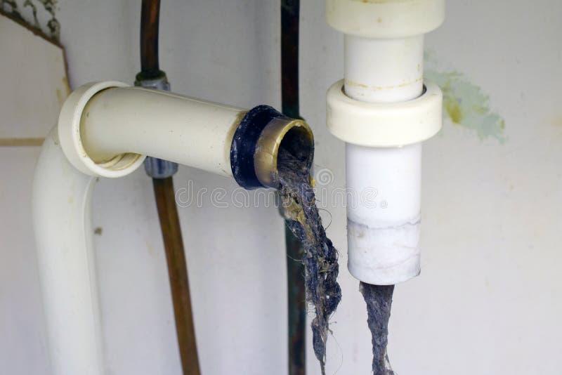 Tubo ostruito del lavandino immagine stock