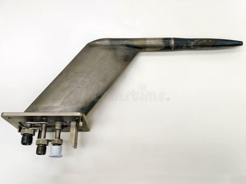 Tubo pitot quebrado velho do instrumento de aviões para a velocidade aerodinâmica de medição fotografia de stock