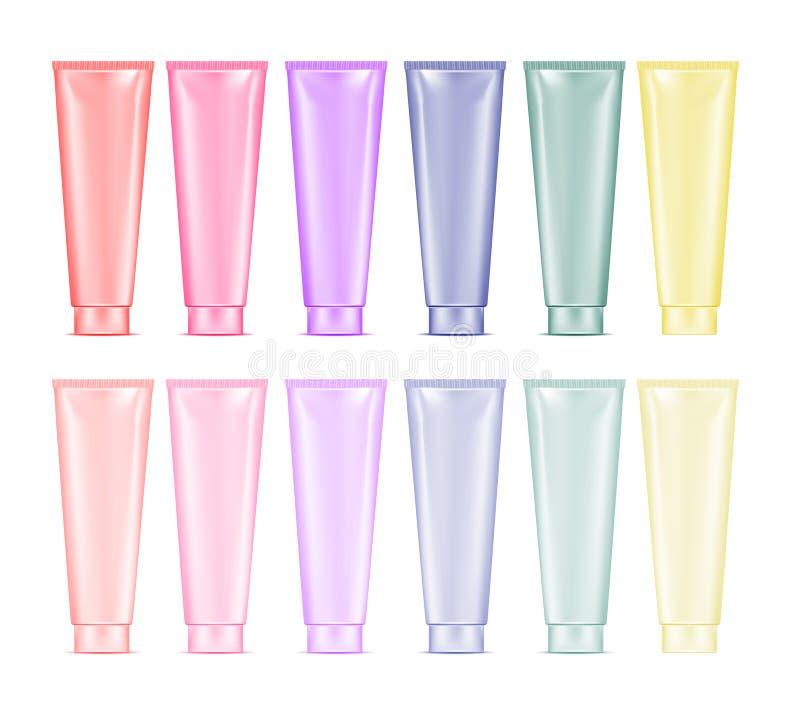 Tubo plástico da cor da placa para o cosmético, a loção, a pasta de dente e o c ilustração do vetor
